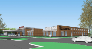 A concept sketch of the new University of Maryland Shore Medical Center at Cambridge, expected to be completed by 2021. (Image from filing)