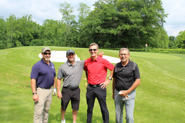 From left, Jim Krout, director of construction with Atlantic Realty Group; Jim Fasano and John Moran Jr. of Moran's Elite Termite & Pest Management; and Steve Goodley, of Scuba Steve Diving Service, participated in the Maryland Multi-Housing Association's 21st annual golf tournament. (Photo by Giovanni Medoro, MMHA)