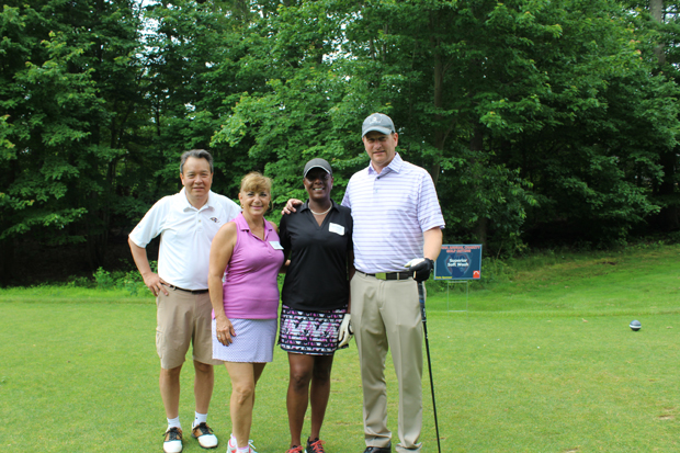 From left, Dave Slough, of Carpet & Wood Floor Liquidators; Tammy Baczynskyj, of VSC Fire & Security;  Keisha Warrick, of Home Properties; and Bob Nichols, Carpet & Wood Floor Liquidators, enjoyed a day on the course during the golf tournament. (Photo by Giovanni Medoro, MMHA)