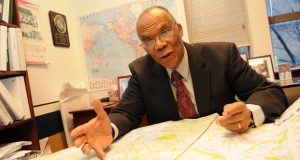 01.12.12- BALTIMORE, MD- Larry S. Gibson, Professor of Law at the University of Maryland Francis King Carey School of Law in Baltimore. Here he is pointing to a map of Maryland that displays the counties in different colors for a story on political gerrymandering. (Maximilian Franz/The Daily Record)
