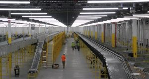 Amazon's fulfillment center at Tradepoint Atlantic is 855,000 square feet, and will process more than 1 million units a day once it opens this fall. The building used 9,900 tons of structural steel and 60,000 cubic yards of concrete. (The Daily Record/Adam Bednar)