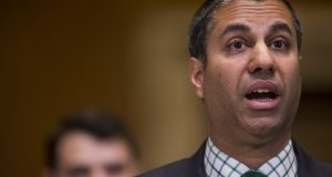 FCC Chairman Ajit Pai speaks during a Senate Appropriations Subcommittee hearing in Washington on May 17, 2018. (Bloomberg/Zach Gibson)