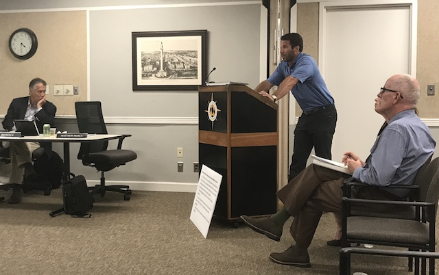 Brendan Chasen, of Chasen Construction & Development, testifies before Baltimore's Commission for Historical and Architectural Preservation on Tuesday. The panel voted against the design of an apartment proposed by Chasen in Fells Point. (Adam Bednar/The Daily Record)