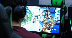 A student practices at Stevenson University's esports arena. Esports have become increasingly popular across the country, and proposed legislation in Maryland would define and legalize them. (Stevenson University)