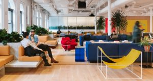 The common area on the sixth floor of WeWork's location in New York's Chelsea neighborhood. The firm announced Wednesday it's opening a location at Harbor Point in Baltimore.  (Courtesy WeWork)