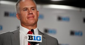 In this July 24, 2018, file photo, Maryland head coach DJ Durkin speaks at the Big Ten Conference NCAA college football media days in Chicago in August. (Annie Rice/AP file photo)