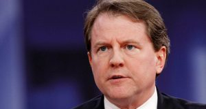 In this Feb. 22, 2018, file photo White House counsel Don McGahn speaks at the Conservative Political Action Conference (CPAC), at National Harbor, Md. (Jacquelyn Martin/AP file photo)
