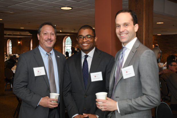 From left, Mark Scurti, Jamar Brown Adam Abelson attended the 21st annual Equal Justice Awards Breakfast. (Photo by Eric Stocklin)