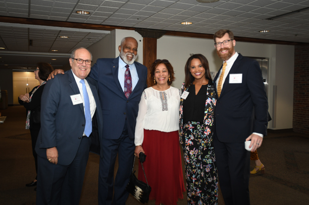 "From left, Robert A. Manekin Esq., Maryland Legal Aid Executive Director Wilhelm H. Joseph, Jr., Esq., Jean Joseph, Laura Coates Esq., host of ""The Laura Coates Show"" and keynote speaker; and Washington County Circuit Court associate judge Brett Wilson take time for a photo at the 21st annual Equal Justice Awards Breakfast. (Photo by Eric Stocklin)"