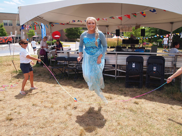 """Magic was in the air at DLA Piper's Horizon Day Camp Carnival as Elsa from """"Frozen"""" visited with the campers at Maryvale Preparatory School in Lutherville. (Photo courtesy of Horizon Day Camp staff)"""