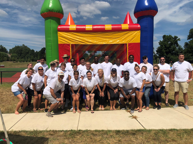 A staff of 29 attorneys, secretaries, IT and litigation support members from DLA Piper's Baltimore office helped host hosted the second annual Horizon Day Camp Carnival. A total of 82 children enjoyed food and activities during the event at Maryvale Preparatory School in Lutherville. (Photo courtesy of Horizon Day Camp staff)