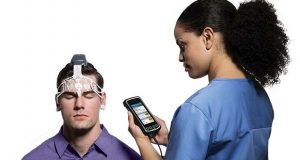 Brainscope Co. Inc.'s BrainScope One is a handheld device that can help doctors assess brain injuries. (Business Wire photo)