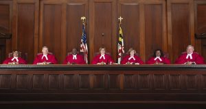 The members of the Maryland Court of Appeals. From left, Justices Michelle D. Hotten, Robert N. McDonald, Clayton Greene Jr., Mary Ellen Barbera (the chief justice), Sally D. Adkins, Shirley M. Watts and Joseph M. Getty. (File Photo)