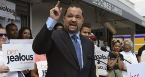 Ben Jealous, shown campaigning earlier this year, is proposing a check-off box that will allow Maryland taxpayers to contribute money to help teachers defray their personal costs of providing supplies to students. (Kenneth K. Lam/The Baltimore Sun via AP)