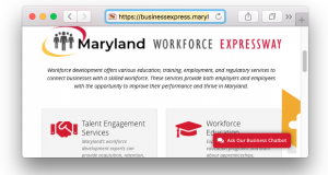 The Maryland Workforce Expressway website.(The Daily Record screen shot)