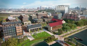 Weller Development Co. officials unveiled plans for 3 million square feet of building in 'Chapter 1' of the $5.5 billion Port Covington development. (Rendering Courtesy Weller Development Co.)