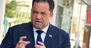 Democratic gubernatorial nominee Ben Jealous in Baltimore Thursday. (The Daily Record / Bryan P. Sears)
