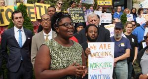 Destiny Watford, a Curtis Bay resident and organizer with Workers United, has played a leading role in securing the deal to subsidize the Affordable Housing Trust Fund. (Adam Bednar)
