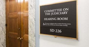 The Senate Judiciary Committee hearing room is seen on Capitol Hill in Washington, Friday, Sept. 21, 2018. (AP Photo/J. Scott Applewhite)