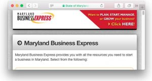 The Maryland Department of Assessments and Taxation's Maryland Business Express website. (Screenshot)