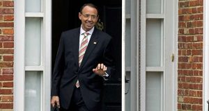 Deputy Attorney General Rod Rosenstein leaves his home on Thursday, Sept. 27, 2018 in Bethesda, Md. President Donald Trump's meeting with the deputy attorney general may or may not happen Thursday as originally planned, but Trump says he'd prefer not to fire Rosenstein regardless. (AP Photo/Jose Luis Magana)