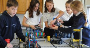Middle school students from Our Lady of Hope/St. Luke School in Dundalk participate in the VEX Robotics Club. (Photo courtesy of the Archdiocese of Baltimore)