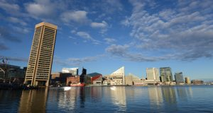 The Baltimore harbor on the afternoon of April 6th, 2017. Photo by Maximilian Franz.