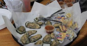 A plate of oysters served to Baltimore elected officials following a tour of Lexington Market. (Adam Bednar)