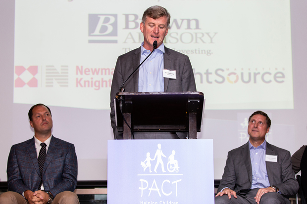 Tim Hathaway, head of U.S. institutional business with Brown Advisory and an imPACT Award honoree, address the crowd at the Frederick Douglass-Isaac Myers Maritime Park Museum. Hathaway is also a former member of PACT's board of directors. (Photo courtesy of PACT)