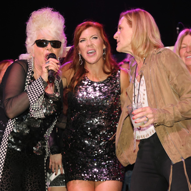 From left, Saturday Night Live vocalist Christine Ohlman, Casey Cares Founder and Executive Director Casey Baynes and Rock 'n' Roll Bash chair Ellen DiMayo sing their hearts out. (Photo by Carin Ganjon)