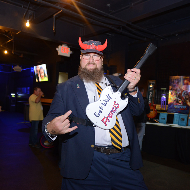 High Voltage super fan Dave Sliwinski came ready to rock at the Casey Cares Rock 'n' Roll Bash at Rams Head Live in Annapolis. (Photo by Carolina Francisca)