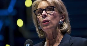 In this Sept. 17, 2018 photo, Education Secretary Betsy DeVos speaks during a student town hall at National Constitution Center in Philadelphia. DeVos is proposing a major overhaul to the way colleges handle complaints of sexual misconduct. (AP Photo/Matt Rourke)