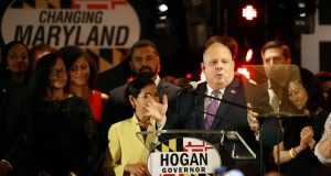 Maryland Gov. Larry Hogan speaks at an election night party in Annapolis, Md., Tuesday, Nov. 6, 2018, after winning a second term, defeating Democratic opponent Ben Jealous. (AP Photo/Patrick Semansky)