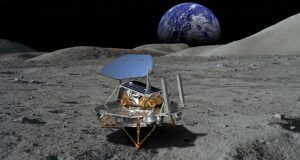 This rendering of Lockheed Martin's McCandless Lunar Lander shows a notional large payload, and commonality with the proven InSight and Phoenix Mars landers. (PRNewsfoto/Lockheed Martin)