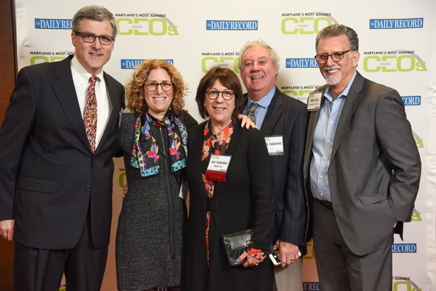 From left, Peter Kirchgraber, of Trout Daniel & Associates LLC; Amy Sussman; 2018 Most Admired CEO winner Ami Taubenfeld of Itineris Inc.; Mark Taubenfeld; and Arthur Putzel, of Trout Daniel & Associates LLC, pose on the red carpet at the event. (Photo by Maximilian Franz)
