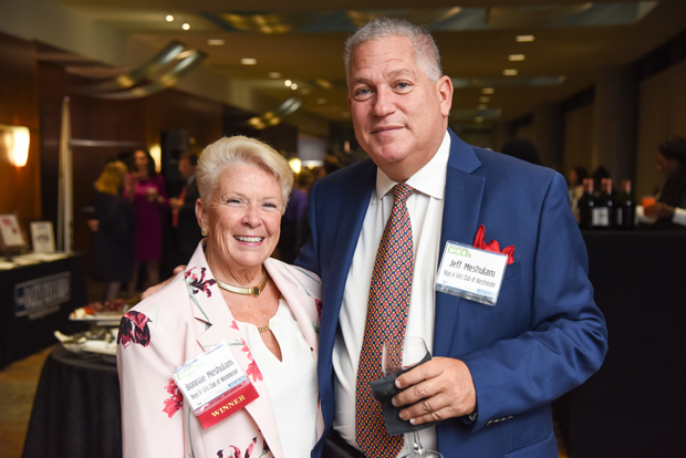 Bonnae Meshulam, left, executive director of the Boys & Girls Club of Westminster and a 2018 Most Admired CEO winner, poses with Jeff Meshulam during the networking reception. (Photo by Maximilian Franz)