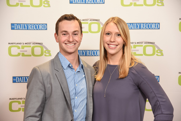 2018 Most Admired CEOs winner Evan Lutz, the CEO and founder of Hungry Harvest, gets a photo with Lauren Mason at the awards ceremony. (Photo by Maximilian Franz)