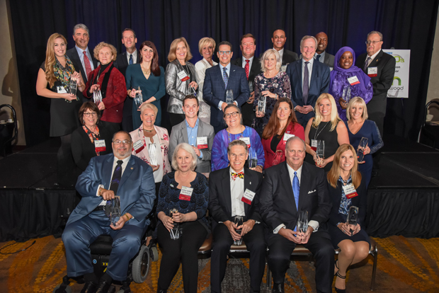 The 2018 Most Admired CEOs gather for a group photo following the awards ceremony at the Hilton Baltimore BWI Airport Hotel. (Photo by Maximilian Franz)