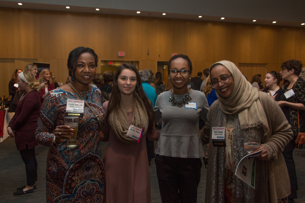 Salisbury University Employee Relations Manager Crystal Dickerson; Emilee Fiscus; Victoria Myles, a student at Salisbury University; and Noha Elshalali, of Salisbury University, were on hand for the Path to Excellence event. (Photo by Kathleen Kaste)
