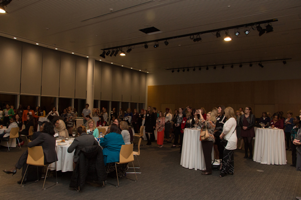 A crowd of nearly 100 guests enjoy the program during the Path to Excellence networking event Nov. 7 at Salisbury University. (Photo by Kathleen Kaste)