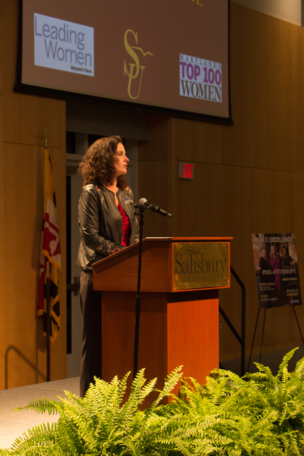 Suzanne Fischer-Huettner, publisher of The Daily Record, addresses the crowd during the Path to Excellence networking event at Salisbury University. (Photo by Kathleen Kaste)