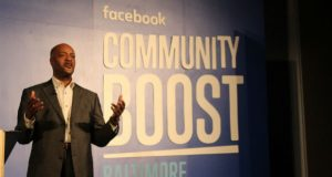 Paul Taylor, executive director the Baltimore City Small Business Resource Center, speaks at Facebook Community Boost. Facebook gave the resource center a $250,000 grant for programming at the center. (Tim Curtis / The Daily Record)