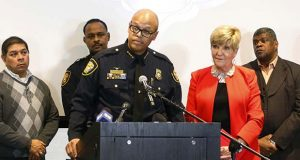 "FILE - In this Jan. 9, 2017 file photo, Fort Worth Police Chief Joel Fitzgerald speaks at a press conference to announce the discipline for Officer William Martin in Forth Worth, Texas. Baltimore's mayor has chosen Fitzgerald as her nominee to lead the city's troubled force, seeking to reign in a soaring pace of homicides and boost public trust in a tattered department. Mayor Catherine Pugh on Friday, Nov. 16, 2018, picked Fitzgerald, saying he's led a large police department and was ""well versed on training and community engagement."" Her spokesman confirmed that she expects Fitzgerald will start working as acting leader in coming days. (Rodger Mallison /Star-Telegram via AP)"