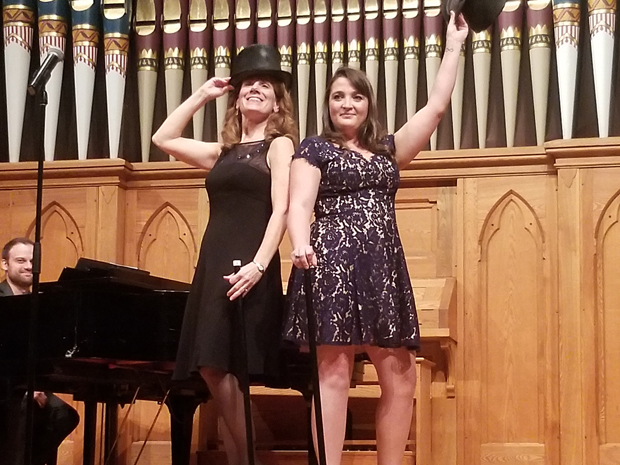 """Margaret Witherup, Esq., left, and Tess Owen perform """"All for the Best"""" from the musical """"Godspell"""" during the fifth annual Cabaret & Cabernet fundraiser. (Photo by Jerry Mayer)"""
