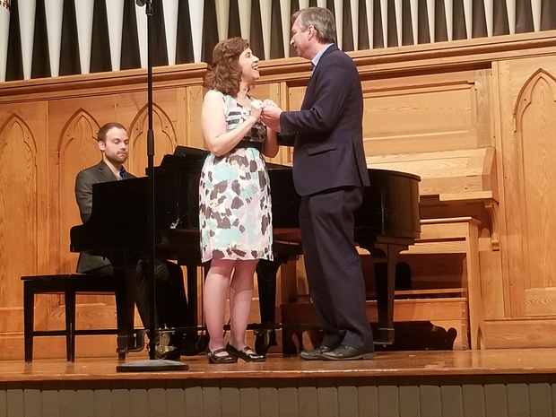 """Jennifer Viets and Paul Ballard, Esq., sing """"You Are Love"""" from the musical, """"Showboat,"""" accompanied by pianist Aaron Thacker. (Photo by Jerry Mayer)"""