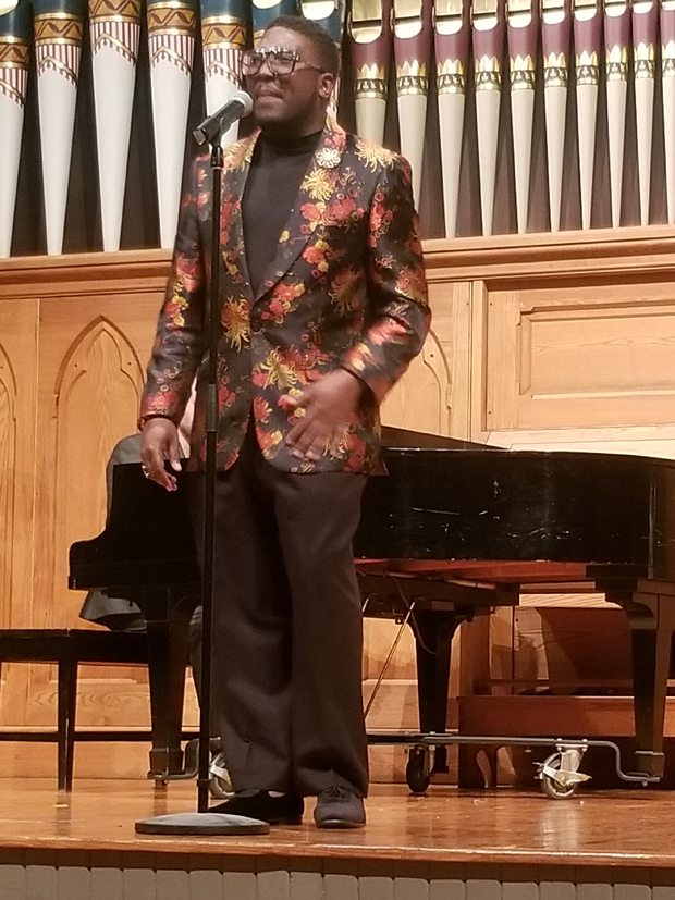 """Ruthven St. Clair performs """"Ain't Too Proud to Beg,"""" written by Norman Whitfield & Eddie Holland, and performed originally by The Temptations. (Photo by Jerry Mayer)"""
