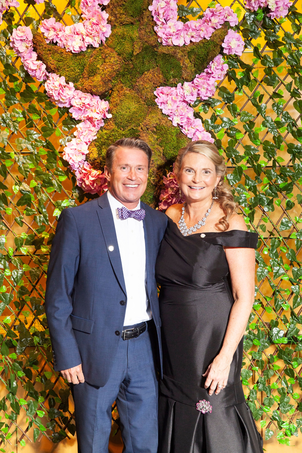 """Harford County Executive Barry Glassman and Harford County Public Library CEO Mary Hastler helped make the library's """"An Evening in the Stacks -- The Pink Edition"""" a big success. (Photo by Aven Love Studios)"""