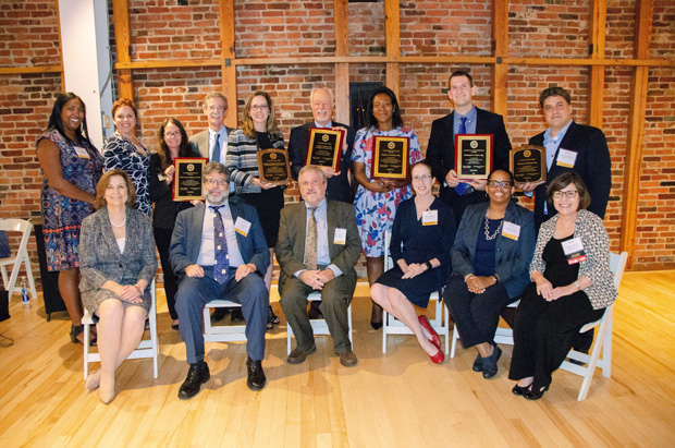 The Celebrate Pro Bono award winners gather for a group photo during the event at the American Visionary Art Museum in Baltimore. (Photo courtesy of MVLS)