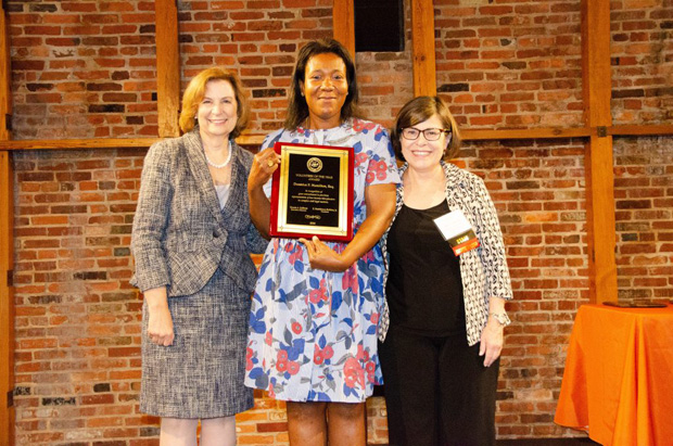 Dontrice P. Hamilton, Esq., center, was the recipient of the Volunteer of the Year award for her willingness to support MVLS clients in a variety of legal issues, including tax, expungements, collections, deed changes and family law matters. Joining Hamilton are the Hon. Mary Ellen Barbera, left, chief judge on the Maryland Court of Appeals, and Bonnie Sullivan, executive director of the Maryland Volunteer Lawyers Service. (Photo courtesy of MVLS)