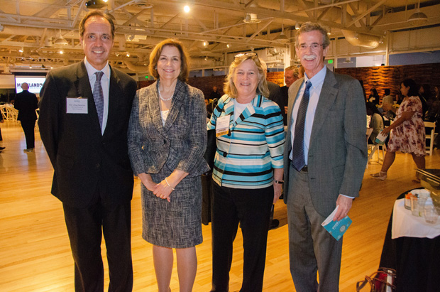 From left, the Hon. Doug Nazarian, a judge on the Court of Special Appeals; Mary Ellen Barbera, chief justice on the Court of Appeals; M. Natalie McSherry, a principal with Kramon & Graham; and Maryland Attorney General Brian Frosh were in attendance for the Celebrate Pro Bono awards event at the American Visionary Art Museum. (Photo courtesy of MVLS)